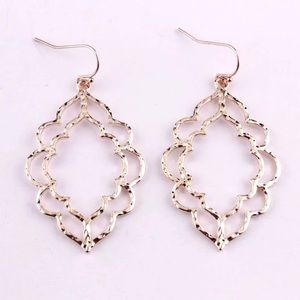 2 for $20 scalloped double drop hammered earring